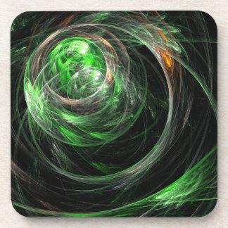 Around the World Green Abstract Art Cork Coaster