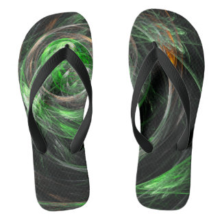 Around the World Green Abstract Art Flip Flops