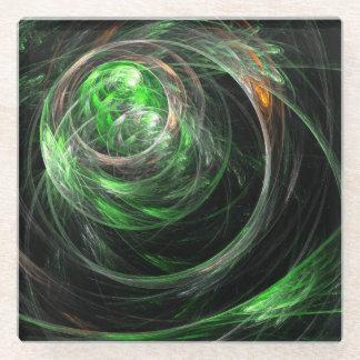 Around the World Green Abstract Art Glass Coaster
