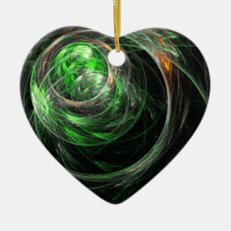 Around the World Green Abstract Art Heart Ornament