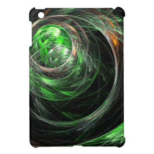 Around the World Green Abstract Art Cover For The iPad Mini