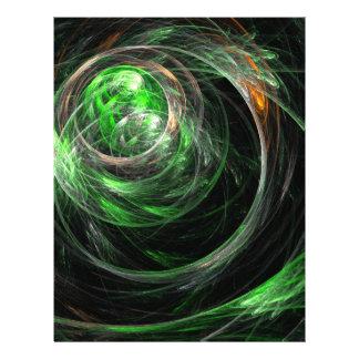 Around the World Green Abstract Art Letterhead