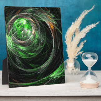 Around the World Green Abstract Art Plaque