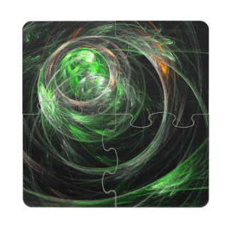 Around the World Green Abstract Art Puzzle Coaster