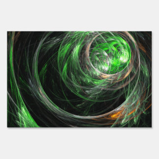 Around the World Green Abstract Art Sign