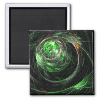 Around the World Green Abstract Art Square Magnet