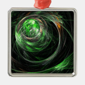Around the World Green Abstract Art Square Metal Ornament