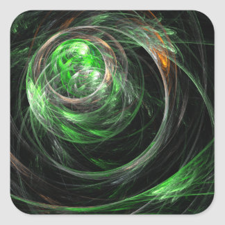 Around the World Green Abstract Art Square Sticker