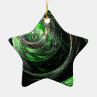 Around the World Green Abstract Art Star Ornament