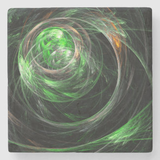 Around the World Green Abstract Art Stone Coaster