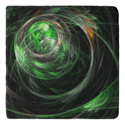 Around the World Green Abstract Art Stone Trivet