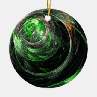 Around the World Green Abstract Circle Ornament