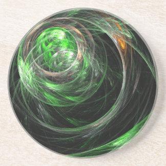 Around the World Green Abstract Sandstone Coaster