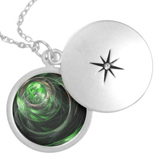 Around the World Green Abstract Silver Locket