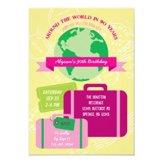 Around The World in 90 Years Invitation