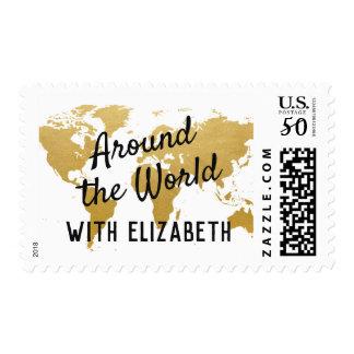 Around the World Map Mitzvah Birthday Corporate Postage