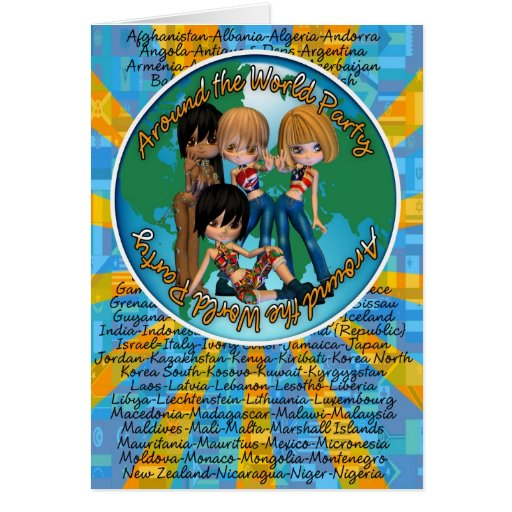 Around the world party with Cutie Girls Card