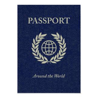 around the world : passport 5x7 paper invitation card
