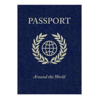 around the world passport custom invitations