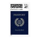 around the world : passport postage stamp