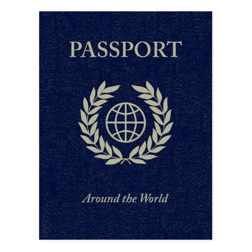 around the world : passport postcard | Zazzle