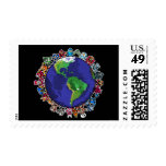 Around the World Postage Stamps