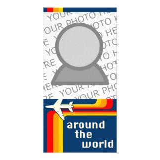 around the world : retro plane card
