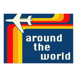 around the world : retro stripes card