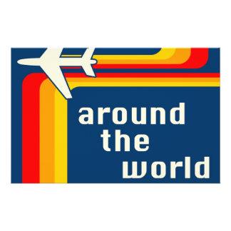 around the world : retro stripes flyer