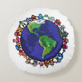 Around the World Round Pillow