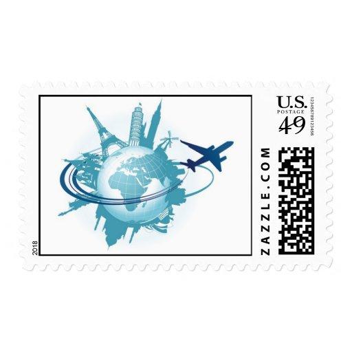 Around the world stamp