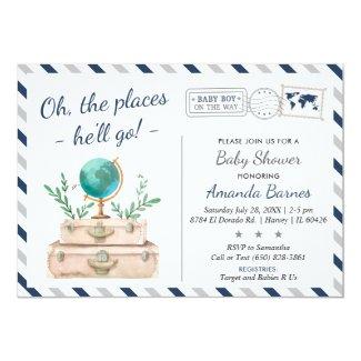 Around the World Travel Adventure Baby Boy Shower Invitation