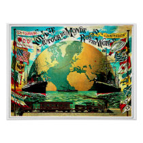 Around The World Voyage Vintage Travel Poster