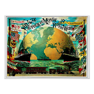 Around The World Voyage Vintage Travel Poster at Zazzle