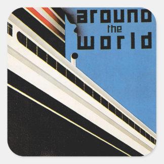 Around the World with NYK Square Sticker