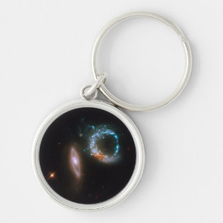 ARP 147 Galaxies Silver-Colored Round Keychain