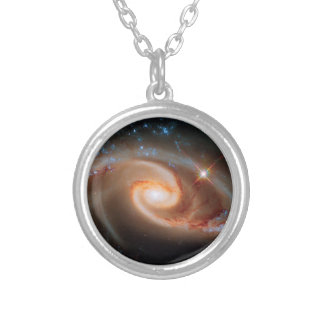 Arp 273 Rose Galaxies Hubble Outer Space Photo Silver Plated Necklace