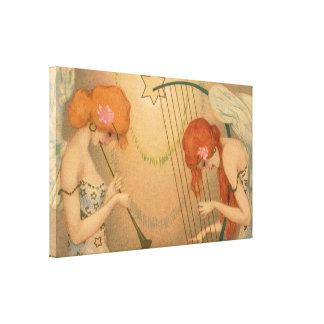 Arpa de la flauta de los músicos del ángel del impresión en lienzo