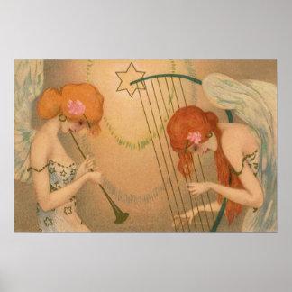 Arpa de la flauta de los músicos del ángel del póster