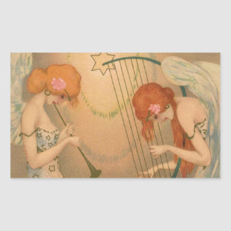 Arpa de la flauta de los músicos del ángel del pegatina rectangular