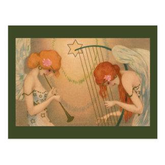Arpa de la flauta de los músicos del ángel del postales