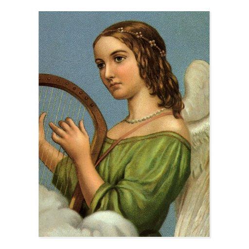 Arpa de la música del ángel del Victorian del navi Tarjeta Postal