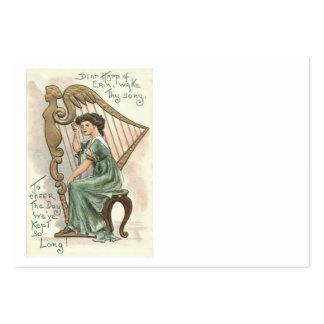 Arpa del chica del Victorian de Erin Tarjetas De Visita Grandes