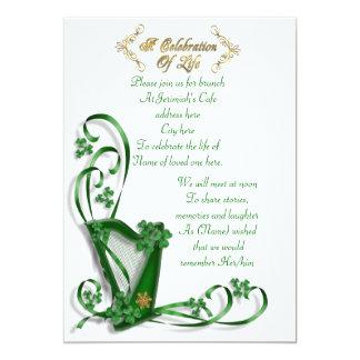 """Arpa irlandesa """"celebración de la vida """" invitación 5"""" x 7"""""""