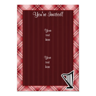 """Arpa roja de la tela escocesa invitación 5"""" x 7"""""""