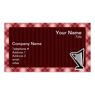 Arpa roja de la tela escocesa tarjeta de visita