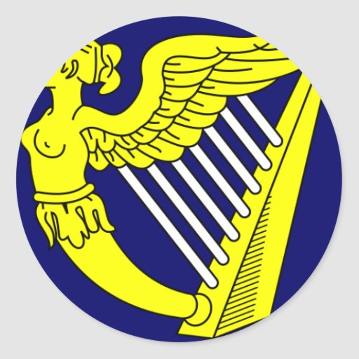 Arpa virginal coa alas azul, bandera de Irlanda Pegatina Redonda