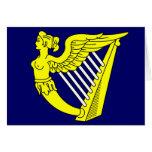 Arpa virginal coa alas azul, bandera de Irlanda Tarjetón