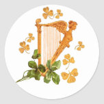 Arpa y tréboles de oro de Irlanda Etiqueta Redonda