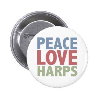 Arpas del amor de la paz pins